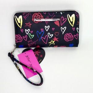 Betsy Johnson Heart Black Wallet